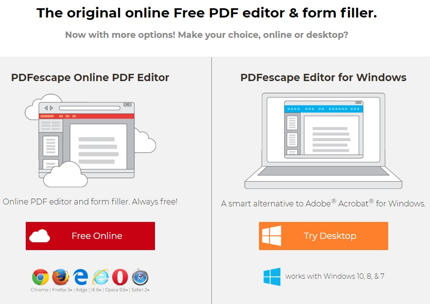 PDFescape editors for online editing